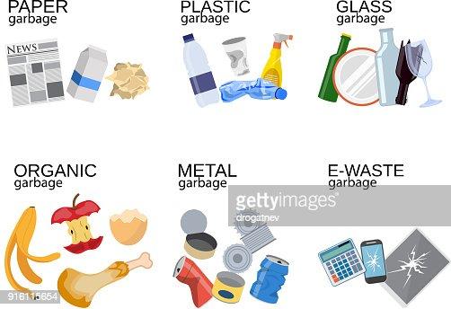 Garbage sorting food waste, glass, metal : stock vector