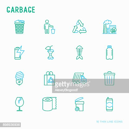 Garbage thin line icons set: garbage bin, organic trash, garbage truck, glass, recycled paper, aluminium, battery, plastic bottle. Modern vector illustration. : stock vector