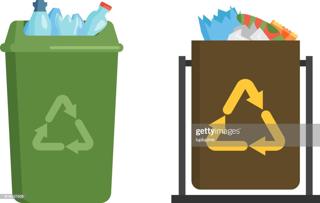 Garbage trash bin flat vector : Vector Art