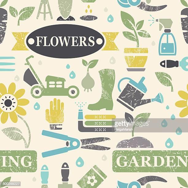 Garden and Gardening Bleached Textured Seamless Background
