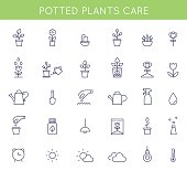 Garden and Potted Plants Care Instructions Icons and Pictograms. Vector Flat Outline Design