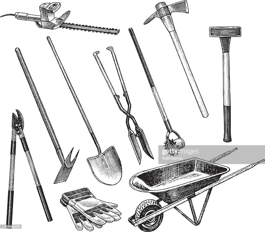 Garden digging and trimming tools vector art getty images for Gardeners trimming tool