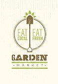 Garden Market Food Concept. Eco Local Food Creative Sign Vector Sign Design On Rough Background.