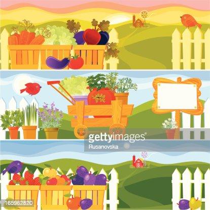 Garden Season Banners Vector Art Getty Images