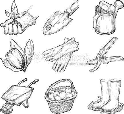 Gartentools und dinge vektorgrafik thinkstock for Gardening tools drawing