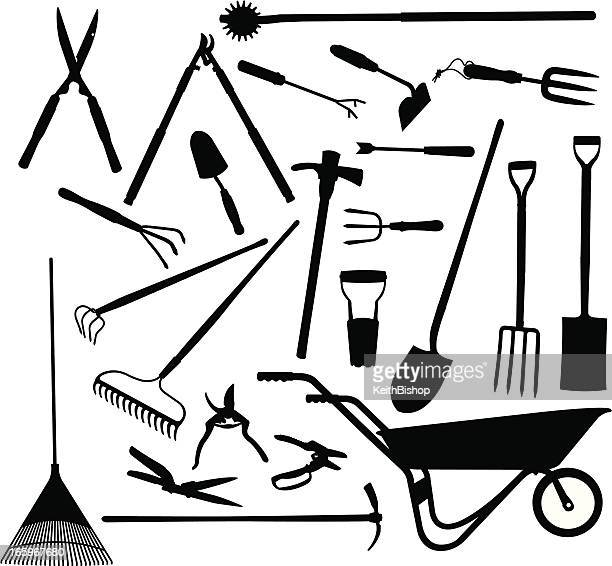Wheelbarrow stock illustrations and cartoons getty images for Gardening tools vector