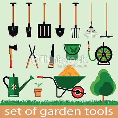 Garden tools vector art thinkstock for Gardening tools drawing with names