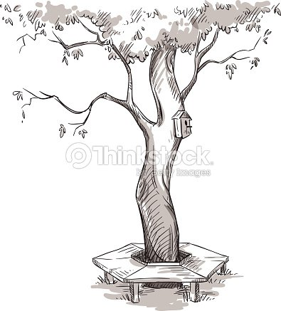 garden tree and a wooden bench around it vector art thinkstock. Black Bedroom Furniture Sets. Home Design Ideas