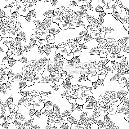 Gardenia flower graphic black white color seamless pattern sketch illustration vector
