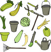 Gardening elements in cartoon style. Hand drawn illustration. Great for card, poster, print