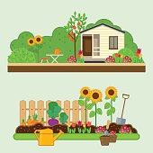 Gardening set. Vector illustrations with rural landscape, flowers, garden, cottage and garden tools