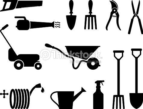 Outils de jardinage en noir et blanc clipart vectoriel for Gardening tools drawing