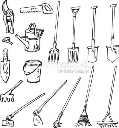 Outils de jardinage et crayonnages clipart vectoriel for Dessin outils jardinage
