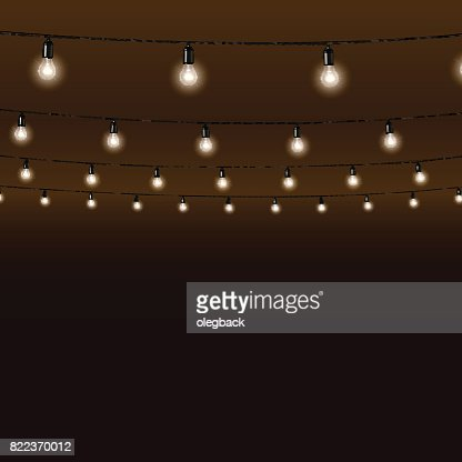 Garland of lamps on brown background. Vector illustration. : Vector Art