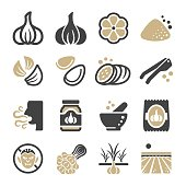 garlic icon set