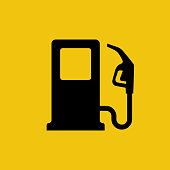 Gas pump icon. Fuel pump. Petrol station sign. Gasoline nozzle. Fuel background. Vector illustration flat design. Isolated black symbol on a yellow background.