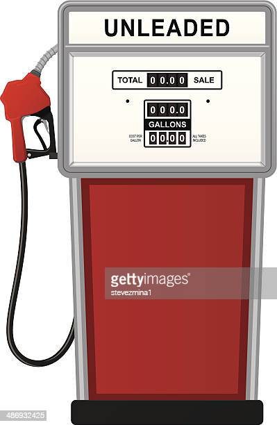 Old Gas Station Drawing Fuel Pump Stock Illust...