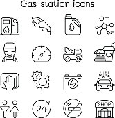 Gas station icon set in thin line style