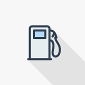 gasoline filling station, column thin line flat color icon. Linear vector illustration. Pictogram isolated on white background. Colorful long shadow design.
