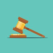 Gavel judge vector illustration in a flat style. Gavel icon flat isolated on a colored background. Wooden gavel law concept.