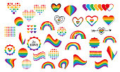 Vector abstract doodles seamless pattern. Hand written pride, love, peace lettering with rainbow. Gay parade slogan. LGBT rights symbol. Isolated. Background, pattern, wrapping paper, bag template, pr