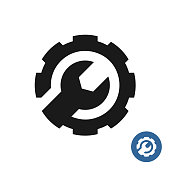 Gear and wrench icon. Service support symbol. Round gear connected with wrench as one piece black symbol. Development and customization sign. Technical service concept.