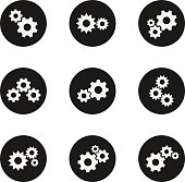 Gear icon set. Motor vehicle, bicycle, metal gadget, car element. Poster for technical design. Vector flat style illustration isolated on white background
