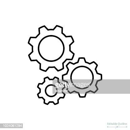 Gear icon, Outline icon, Business services, Technical help, Gear, Configuration, Support center : stock vector