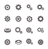 Simple Set of Gear Related Vector Icons for Your Design.