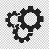 Gear vector icon in flat style. Cog wheel illustration on isolated transparent background. Gearwheel cogwheel business concept.