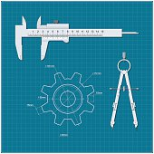 Gear, calipers, compasses on a background of blue drawing paper. Drawing technical mechanism. Vector illustration.