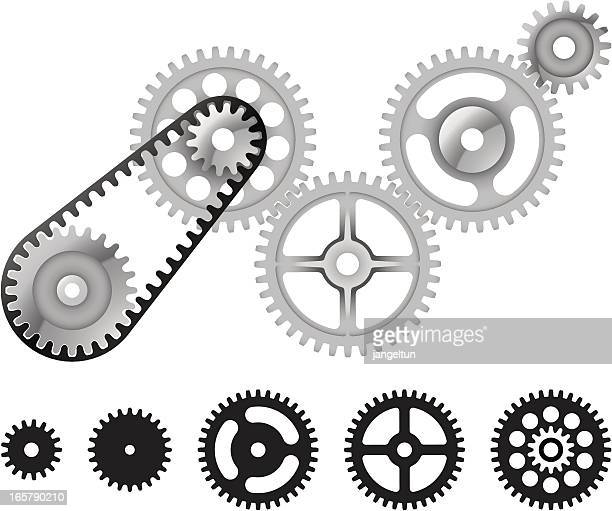Gear wheels in grey and black colors