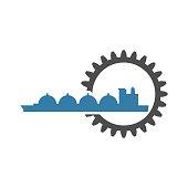Shipping relative emblem. Nuatical cargo tank in gear icon