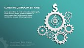 interlocking gears with watch clock arrows in the middle pointing on dollar sign,
