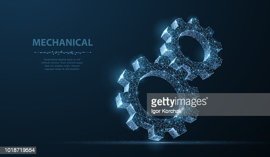 Gears. Abstract vector wireframe two gear 3d modern illustration on dark blue background. : stock vector
