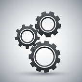 Gears or settings icon, stock vector on a gray background with shadow