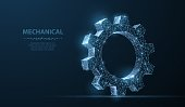 Abstract vector wireframe two gear 3d modern illustration on dark blue background. Mechanical technology machine engineering symbol. Industry development, engine work, business solution concept