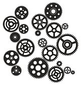 Gears circuit vector illustration. Saved in EPS 8 file with all separated elements. Hi-res jpeg file included (5000 x 5277).