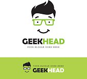 Cute smiling geek face icon in green glasses