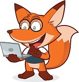 Clipart picture of a geek fox cartoon character holding a laptop