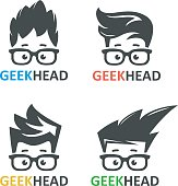 Cartoon boy's face nerd with glasses. Set of vector icons of computer geek. Logo for educational or scientific applications and websites.
