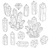 Set of crystals gemstones in black and white. Line art style. Isolated objects. Vector illustration.