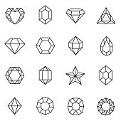 Gems icons set. Jewels and diamonds collection.