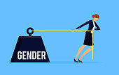 Gender. Business concept of discrimination in a flat style with businesswoman. Businesswoman drags a weight with an inscription gender. Vector illustration.