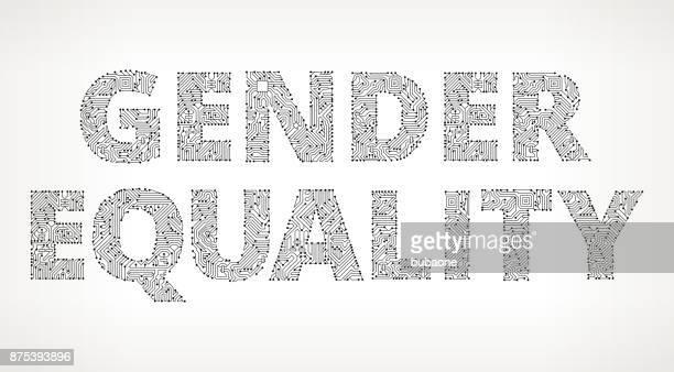 Género igualdad circuito Vector botones