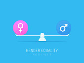 Gender equality concept. Gender symbols balancing on scales. Vector illustration in flat style