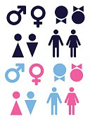 set of vector icons symbolizing male and female persons