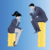 Gender inequality on payment business concept. Businessman looks from top of coins pile on business lady sitting on lesser pile.Concept of career inequality, disparity, gender differences, foul play
