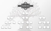 Genealogical tree of your family. Hand drawn oak tree.  Vintage style for retro design.