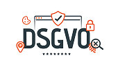 DSGVO - GDPR concept illustration. General Data Protection Regulation. The protection of personal data, isolated on white background.